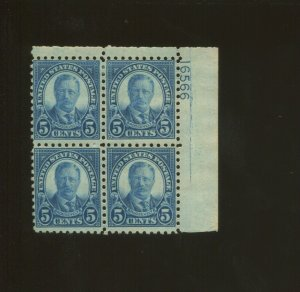 United States Postage Stamp #586 MH F/VF Plate No. 16566 Block of 4