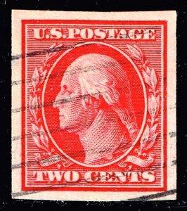 US STAMP # 344 2c carmine imperf 1908 Used CREASE