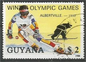 GUIANA, 1992, used $2, Winter olympics O/print Scott Albertville-1992