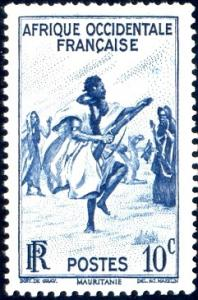 Rifle Dance, Mauritania, French West Africa stamp SC#36 Mint