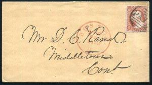 Red Boston CDS Year Dated 1858 ~ #26 Red Brown Inner Frame Line Recut PAID
