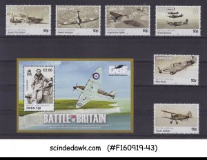 GIBRALTAR - 2010 BATTLE OF BRITAIN / AVIATION SET OF 6-STAMPS & 1-M/S MNH