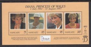 Vanuatu 719 Princess Diana Souvenir Sheet MNH VF