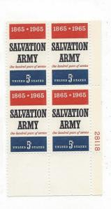 United States, 1267, 5c Salvation Army Plate Block of 4 #28118 LR, MNH