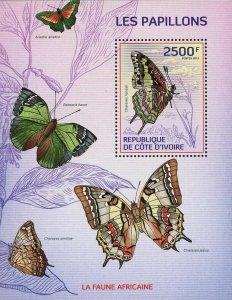 Butterfly Stamp Butterflies Charaxes Jasius Ariadne Bebearia Barce S/S MNH