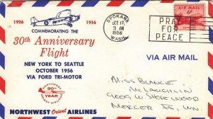 1956, 30th Anniv. 1st Flt., New York to Seattle (D7648)