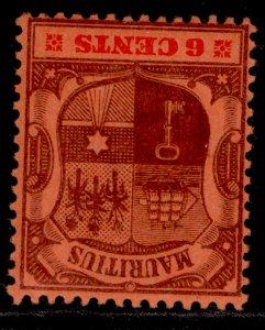 MAURITIUS EDVII SG146w, 6c purple & carmine/red, LH MINT. Cat £32.