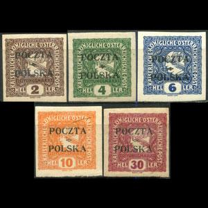 POLAND 1919 - Scott# P1-5 Opt. Set of 5 LH