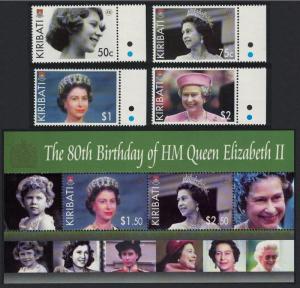 Kiribati 80th Birthday of HM Queen Elizabeth II 4v with margins +MS SG#750-754