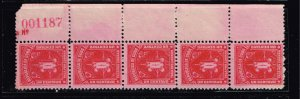CUBA STAMP 2C POSTAGE DUE UNUSED NG STRIP OF 5 PL#