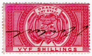 (I.B) Orange Free State Revenue : Duty Stamp 5/-