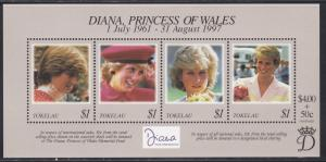 Tokelau # 253, Diana, Princess of Wales, Souvenir Sheet, NH 1/2 Cat..