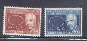 Greenland Sc 66-7 1963 Niels Bohr stamp set mint NH