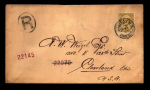 1905 Halifax Cover to Cleveland / Registered - L27822