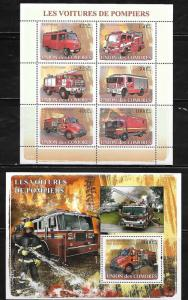 Comoro Islands 1021-22 Fire Trucks Mint NH
