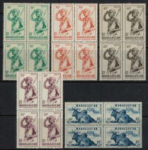 Madagascar #269-73* NH Blocks  CV $5.00