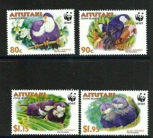 Aitutaki MNH 533-6 Tahitian Blue Lorikeet Birds Fauna WWF 2002