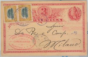 62648 -  GUATEMALA  - POSTAL HISTORY - POSTAL STATIONERY CARD to ITALY 1904