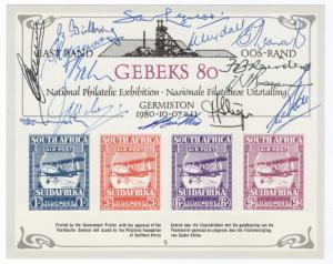 (I.B) South Africa Cinderella : GEBEKS Philatelic Exhibition Card (signed)
