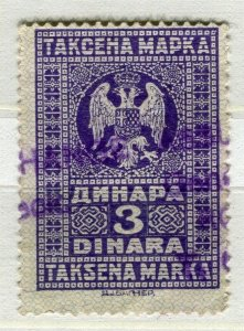 YUGOSLAVIA; Early 1900s classic Fiscal Revenue issue fine used 3d. value