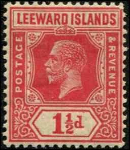 Leeward Islands SC# 65 George V 1-1/2d Die II wmk4 MH