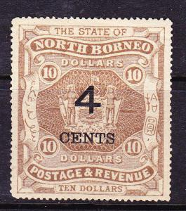 NORTH BORNEO  1899  4c on $10  ARMS MLH  SG 124