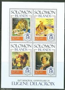 SOLOMON ISLANDS  2014 150th MEMORIAL ANNIVERSARY OF EUGENE DELACROIX SHT MINT NH