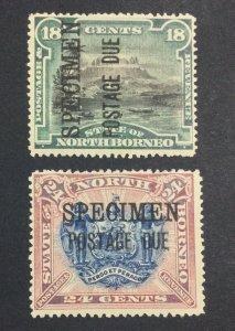 MOMEN: NORTH BORNEO SG # 1895 SPECIMEN DUES MINT OG H £ LOT #6934