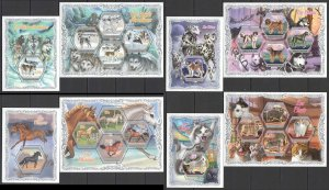 PL8+13+25+27 2018 IVORY COAST FAUNA ANIMALS CATS & DOGS HORSES !!! 4KB+4BL MNH