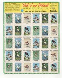 USA National Wildlife Federation Spring Stamps 1976 Wetlands Sheet of 30 MNH