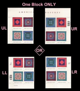 US 3527a Amish Quilts 34c plate block set P11111 MNH 2001