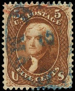 75, XF BLUE BALTIMORE TOWN CANCEL  ALSO PART RED CANCEL