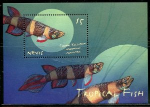 NEVIS TROPICAL FISH I/II SET OF TWO  SHEETS & TWO SOUVENIR SHEETS MINT NH