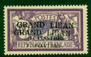 LEBANON 1924 3pi on 60c MICRO SURCHARGE PROOF Sc 11 ERROR OVERPRINT DOUBLE MNH