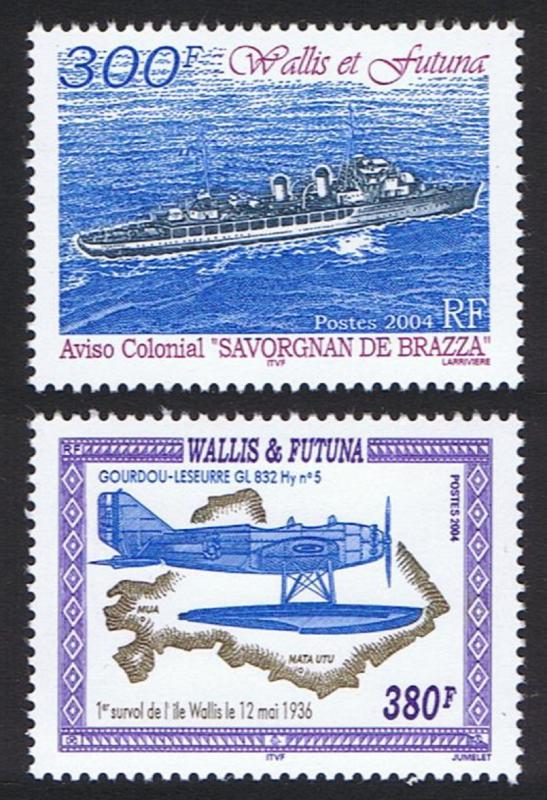 Wallis and Futuna First flight over Wallis - 'Savorgnan de Brazza' SG#854-855