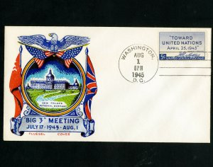 US Stamp #928 On Big 3 Meeting Cover Stamp multicolored Fluegel cachet cover