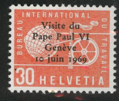 Switzerland Scott 3o103 MNH** International Labor Bureau Pope Paul VI 1969 opt