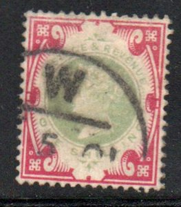 Great Britain Sc 126 1900 1/ carmine & green Victoria stamp used