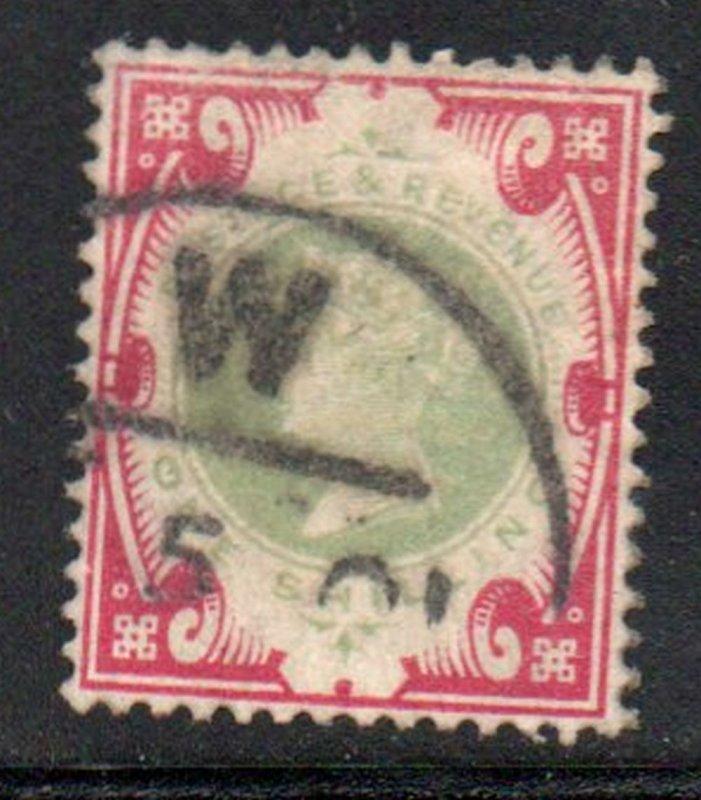 Great Britain Sc 126 1900 1/ carmine & green Victoria stamp used