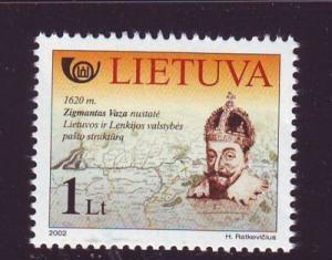 Lithuania Sc730 2002 Sigismund III Postal Service stamp NH