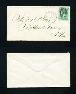 # 147 on cover from Boston, Mass. to Northwood Narrows, NH 5-20-1870's