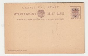 ORANGE FREE STATE, Postal Card with Reply attached, 1901 VRI 1d. Brown, unused..