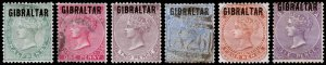 Gibraltar Scott 1-6 (1886) Mint/Used HH F-VF, CV $729.75 C