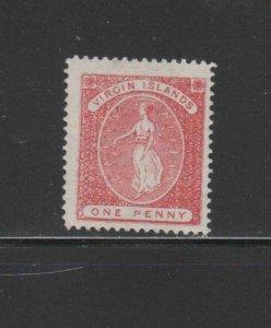 VIRGIN ISLANDS #4  1867  1p VIRGIN & LAMP    MINT VF LH O.G
