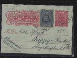 URUGUAY   (PP2604B)  1911  LETTER CARD UPRATED 5C TO GERMANY