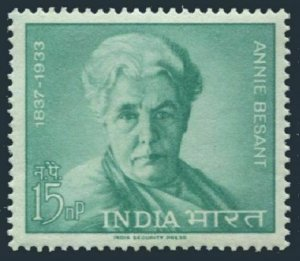 India 377 two stamps,MNH.Michel 357. Annie Besant, theosophist and writer 1963.