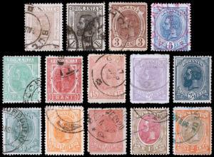 Romania Scott 117-120, 122-124, 126-131 (1893-98) Used/Mint H F-VF, CV $30.80 B