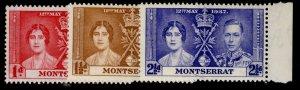 MONTSERRAT GVI SG98-100, CORONATION set, M MINT.