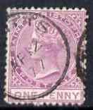 St Christopher 1870-79 QV Crown CC 1d lilac P12.5 used SG1