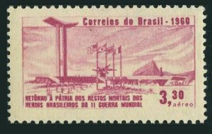 Brazil C104 two stamps,MNH.Mi 995.Reburial of Brazilian servicemen of WW II,1960